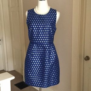 J. Crew blue with silver dots dress